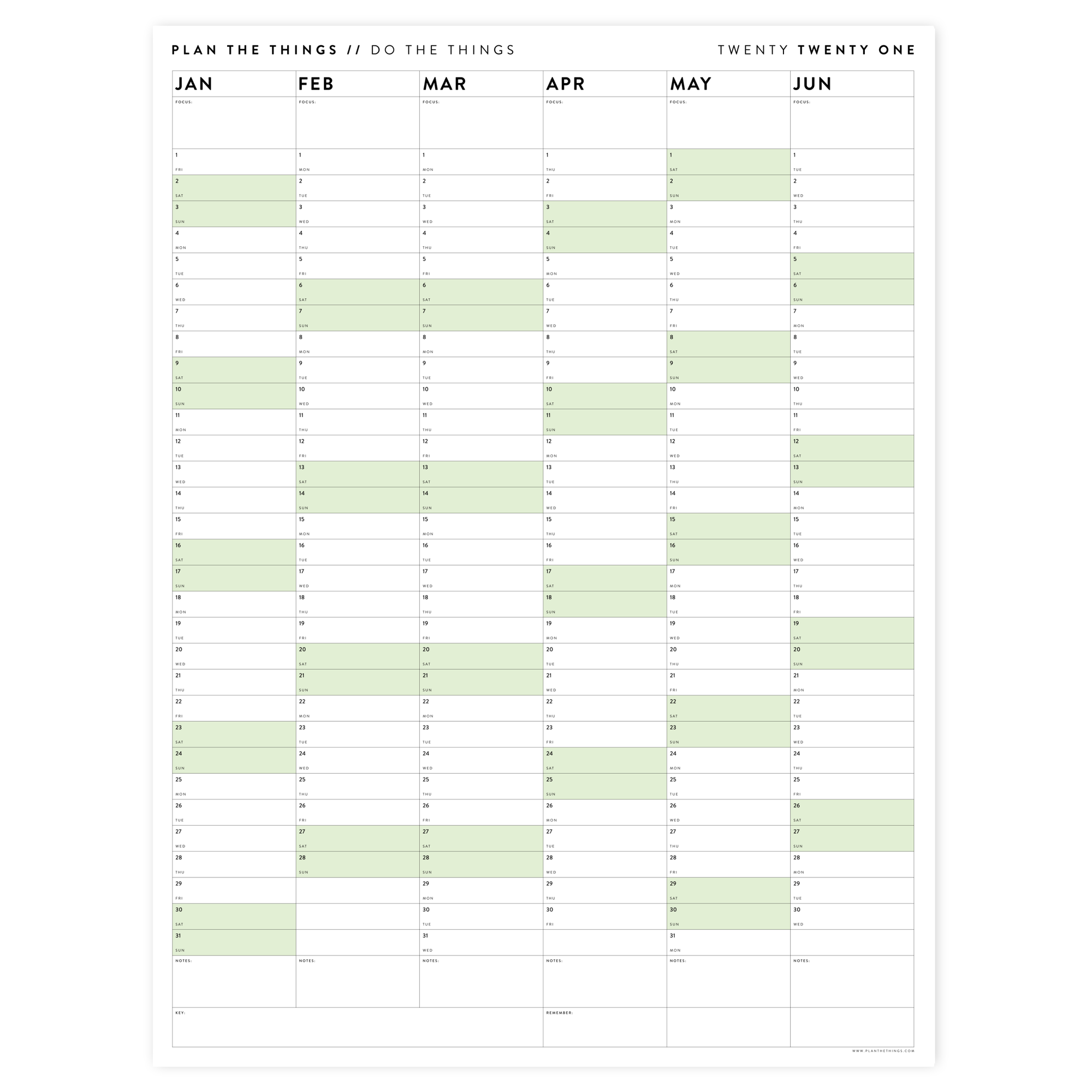 SIX MONTH 2021 WALL CALENDAR (JANUARY TO JUNE)  WITH GREEN WEEKENDS
