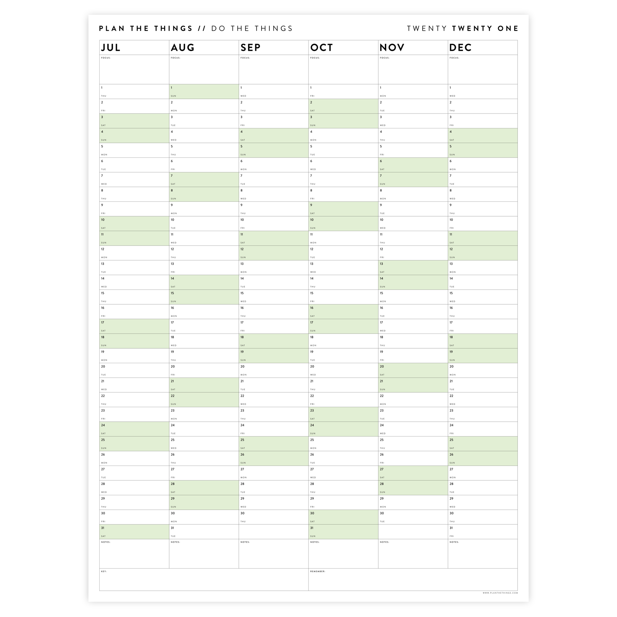 SIX MONTH 2021 WALL CALENDAR (JULY TO DECEMBER) WITH GREEN WEEKENDS