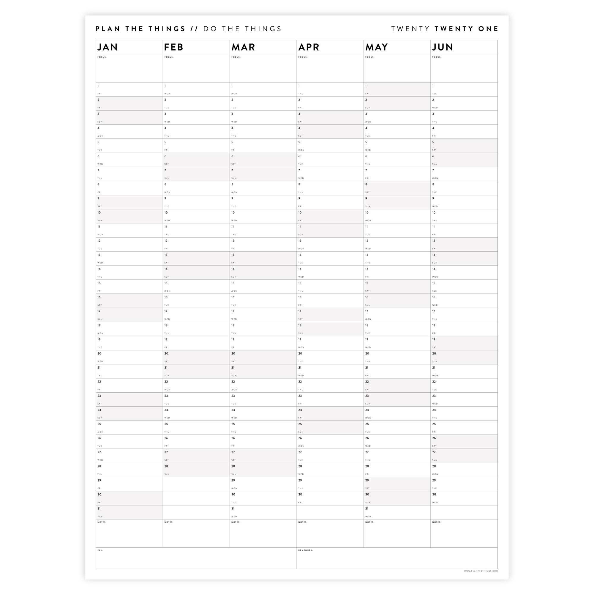 SIX MONTH 2021 WALL CALENDAR (JANUARY TO JUNE) WITH GREY WEEKENDS