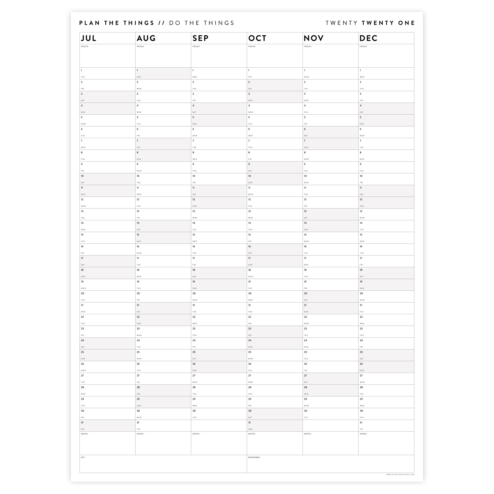 SIX MONTH 2021 WALL CALENDAR (JULY TO DECEMBER) WITH GREY WEEKENDS