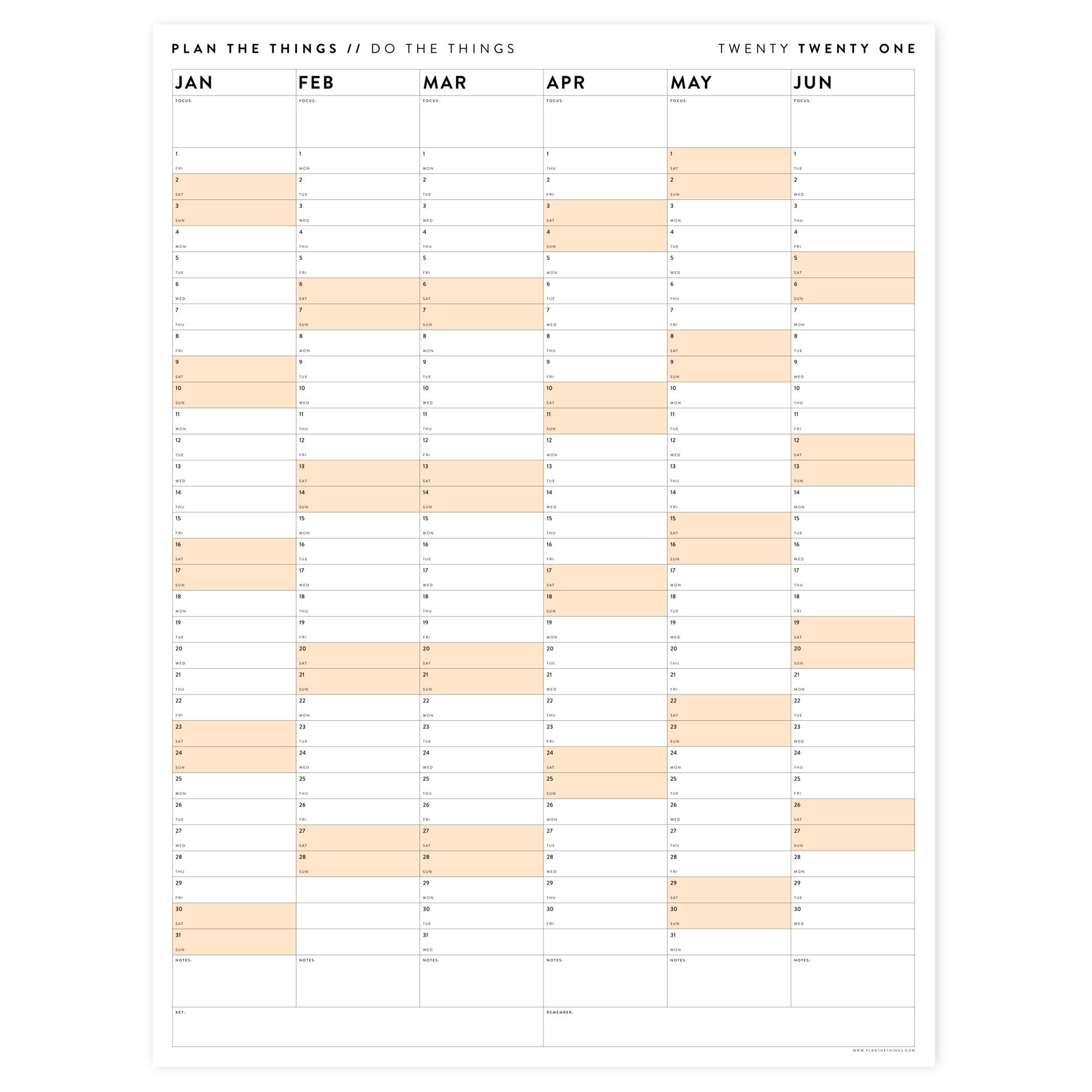 SIX MONTH 2021 WALL CALENDAR (JANUARY TO JUNE)  WITH ORANGE WEEKENDS