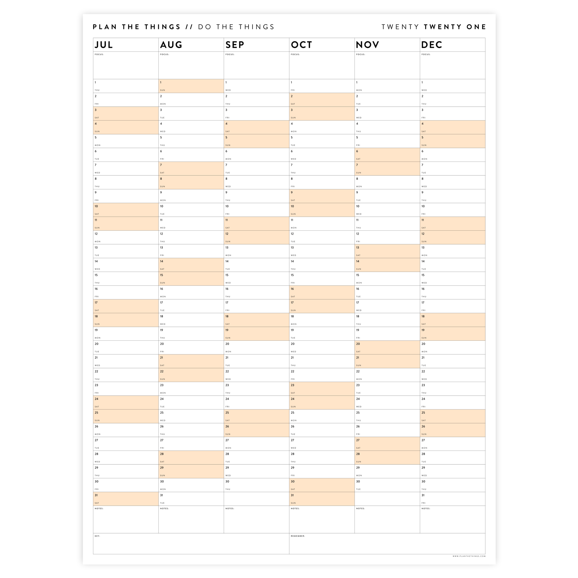 SIX MONTH 2021 WALL CALENDAR (JULY TO DECEMBER) WITH ORANGE WEEKENDS