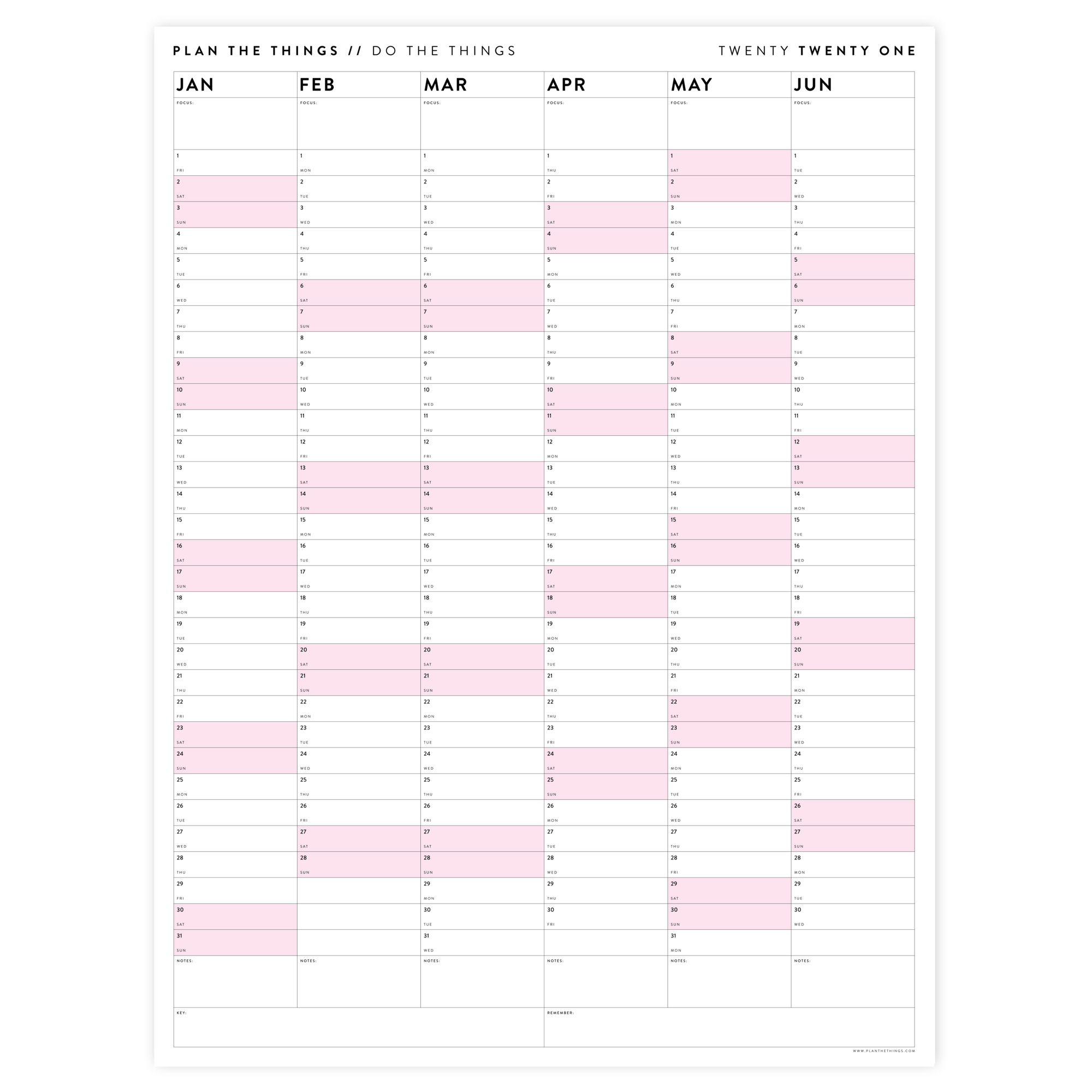 SIX MONTH 2021 WALL CALENDAR (JANUARY TO JUNE)  WITH PINK WEEKENDS