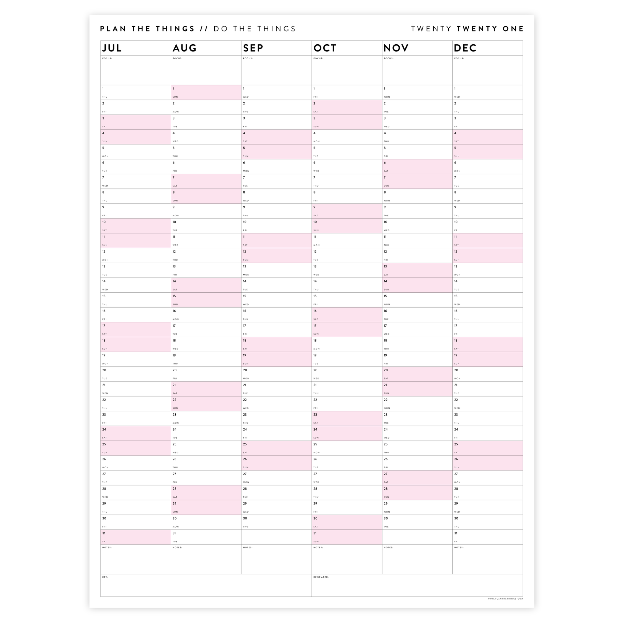 SIX MONTH 2021 WALL CALENDAR (JULY TO DECEMBER) WITH PINK WEEKENDS