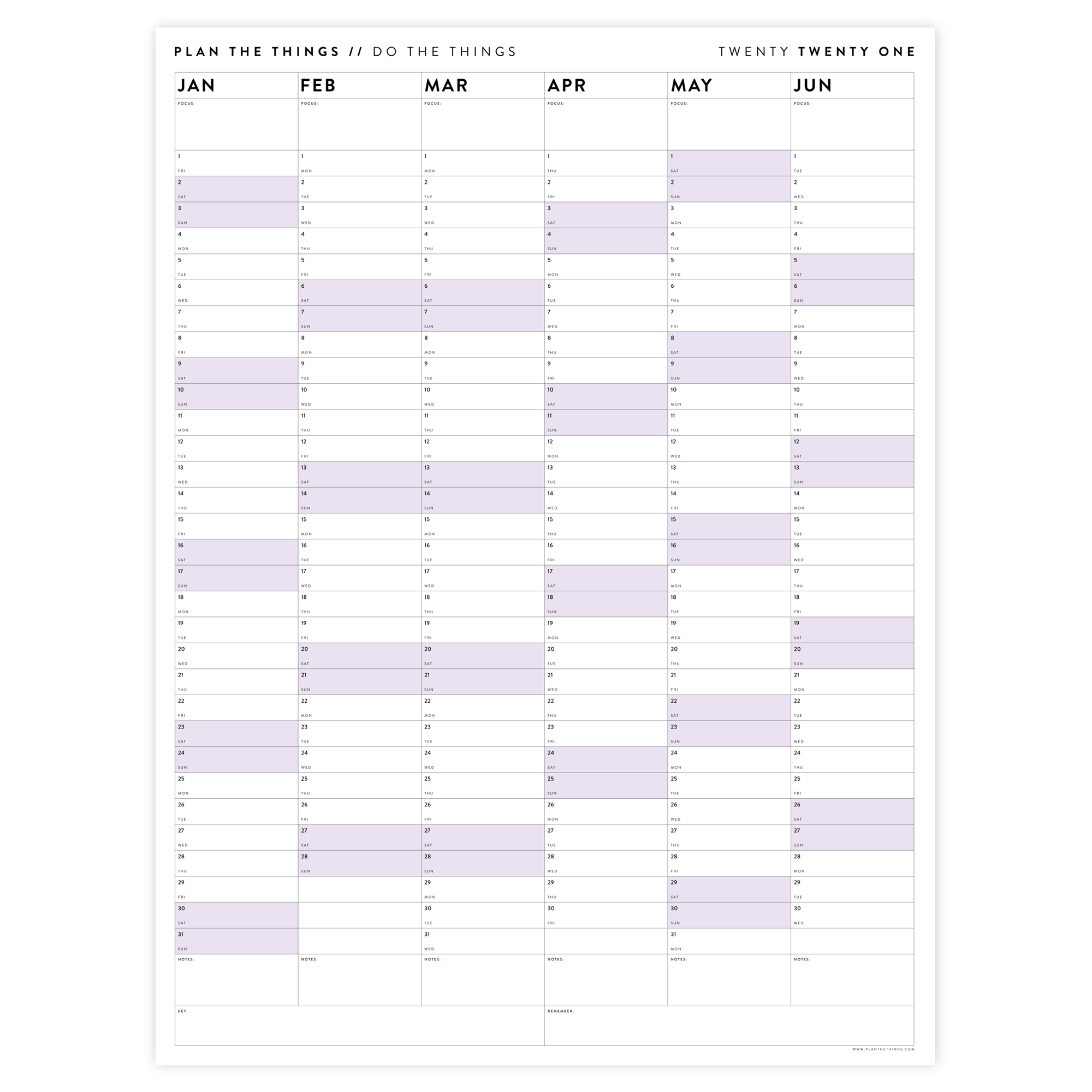 SIX MONTH 2021 WALL CALENDAR SET WITH PURPLE WEEKENDS
