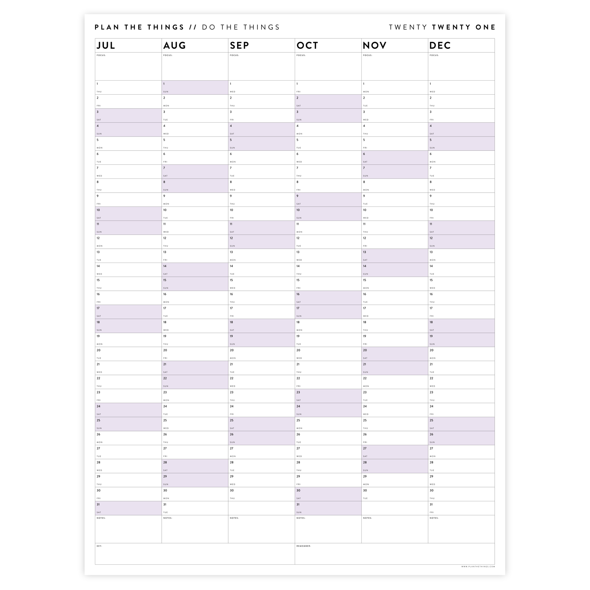 SIX MONTH 2021 WALL CALENDAR (JULY TO DECEMBER) WITH PURPLE WEEKENDS