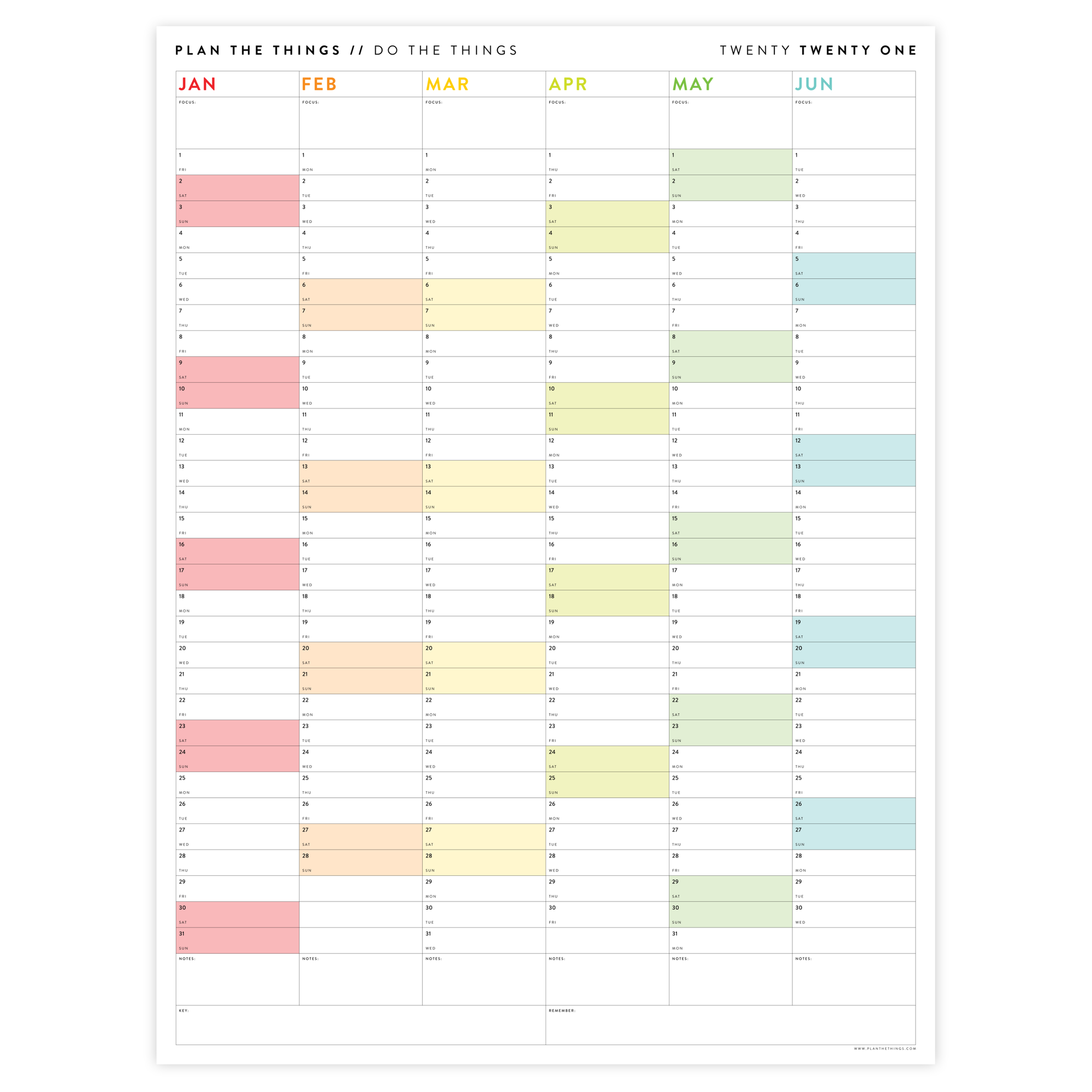 SIX MONTH 2021 WALL CALENDAR (JANUARY TO JUNE) WITH RAINBOW WEEKENDS