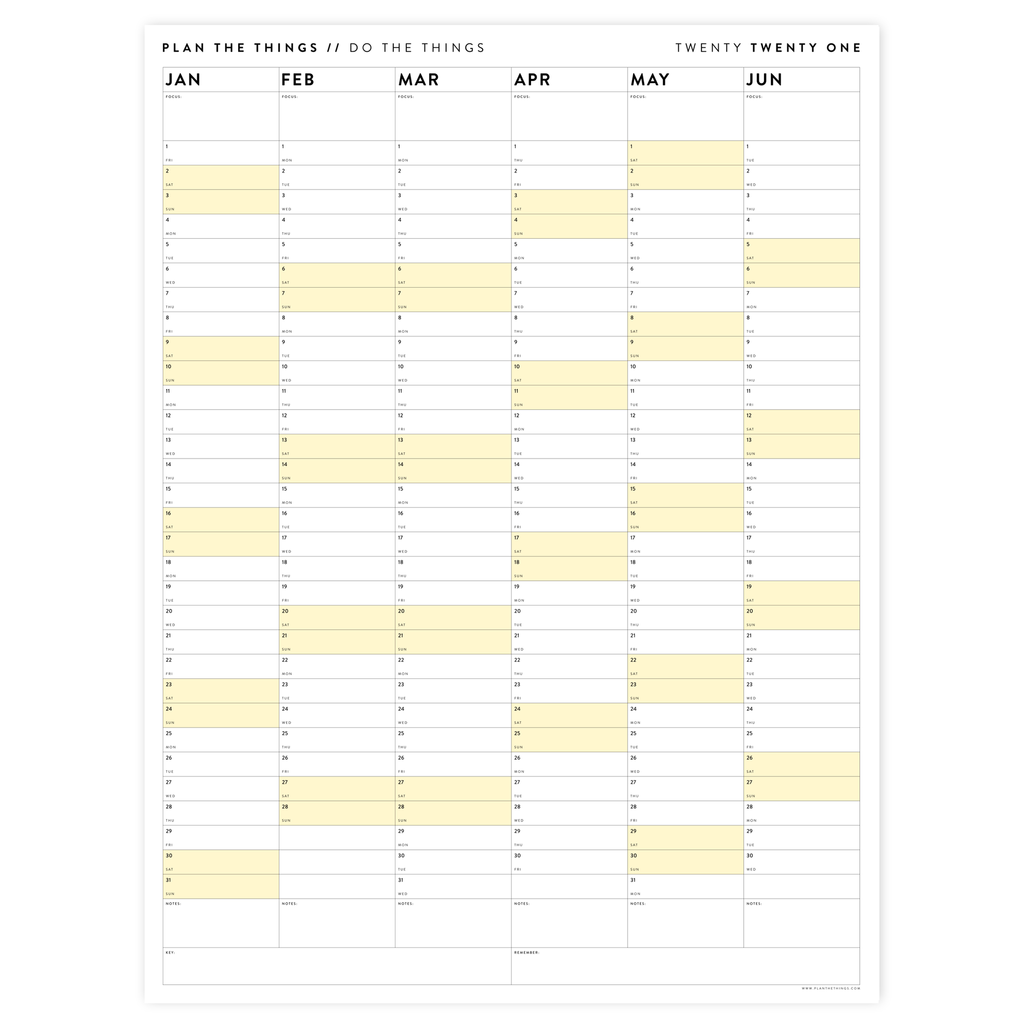 SIX MONTH 2021 WALL CALENDAR SET WITH YELLOW WEEKENDS