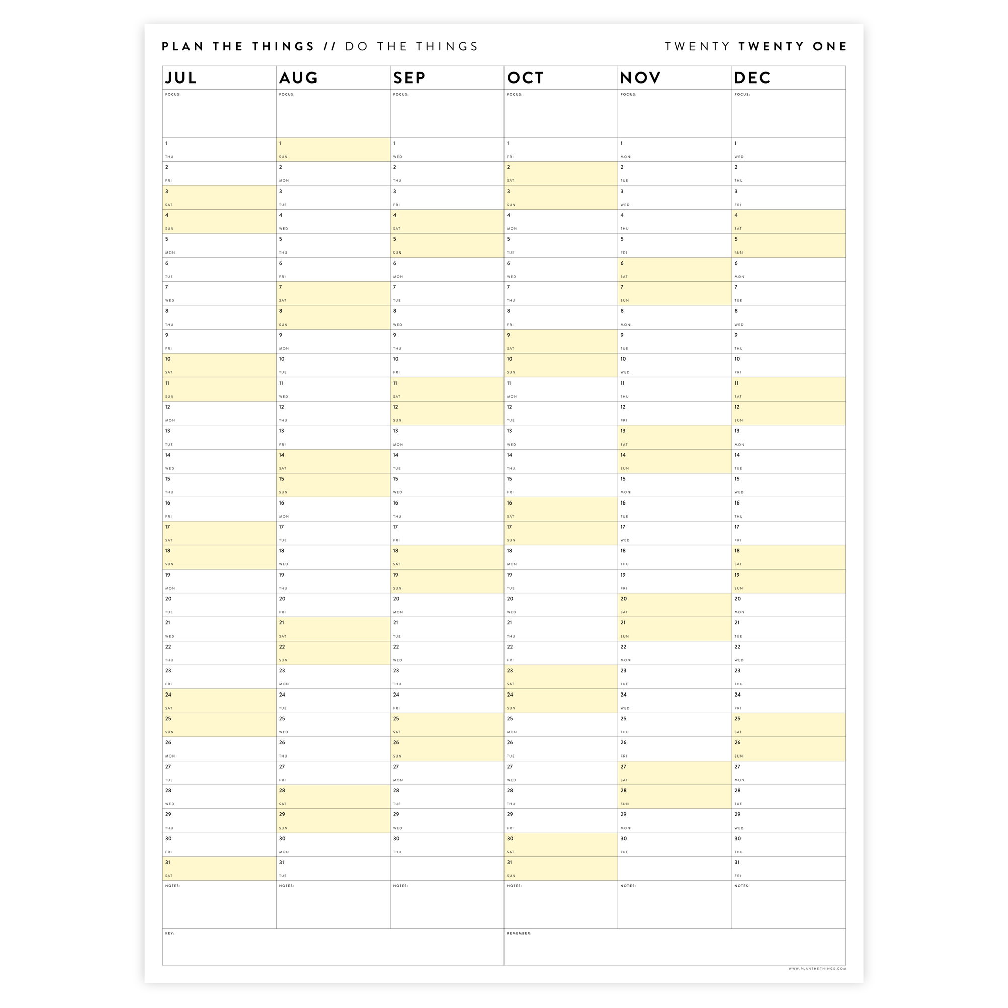 SIX MONTH 2021 WALL CALENDAR (JULY TO DECEMBER) WITH YELLOW WEEKENDS