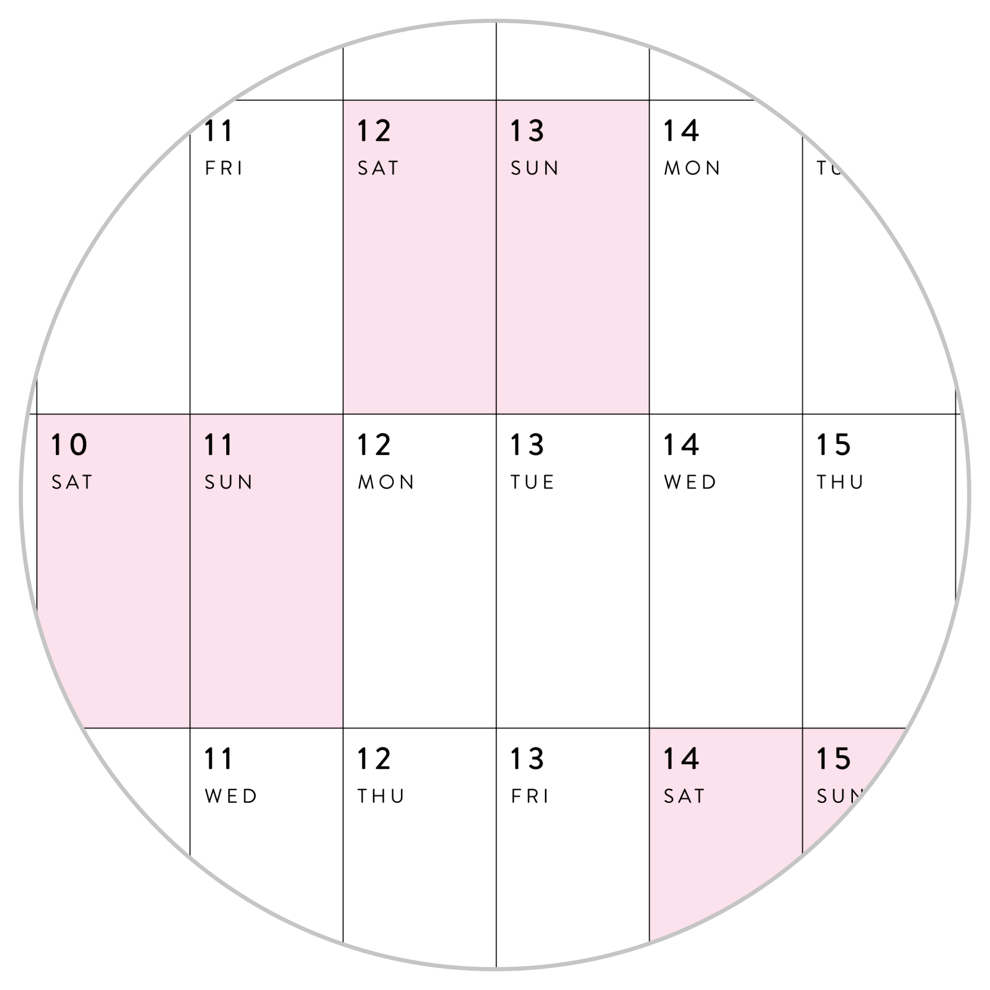 HORIZONTAL 2021 WALL CALENDAR WITH PINK WEEKENDS