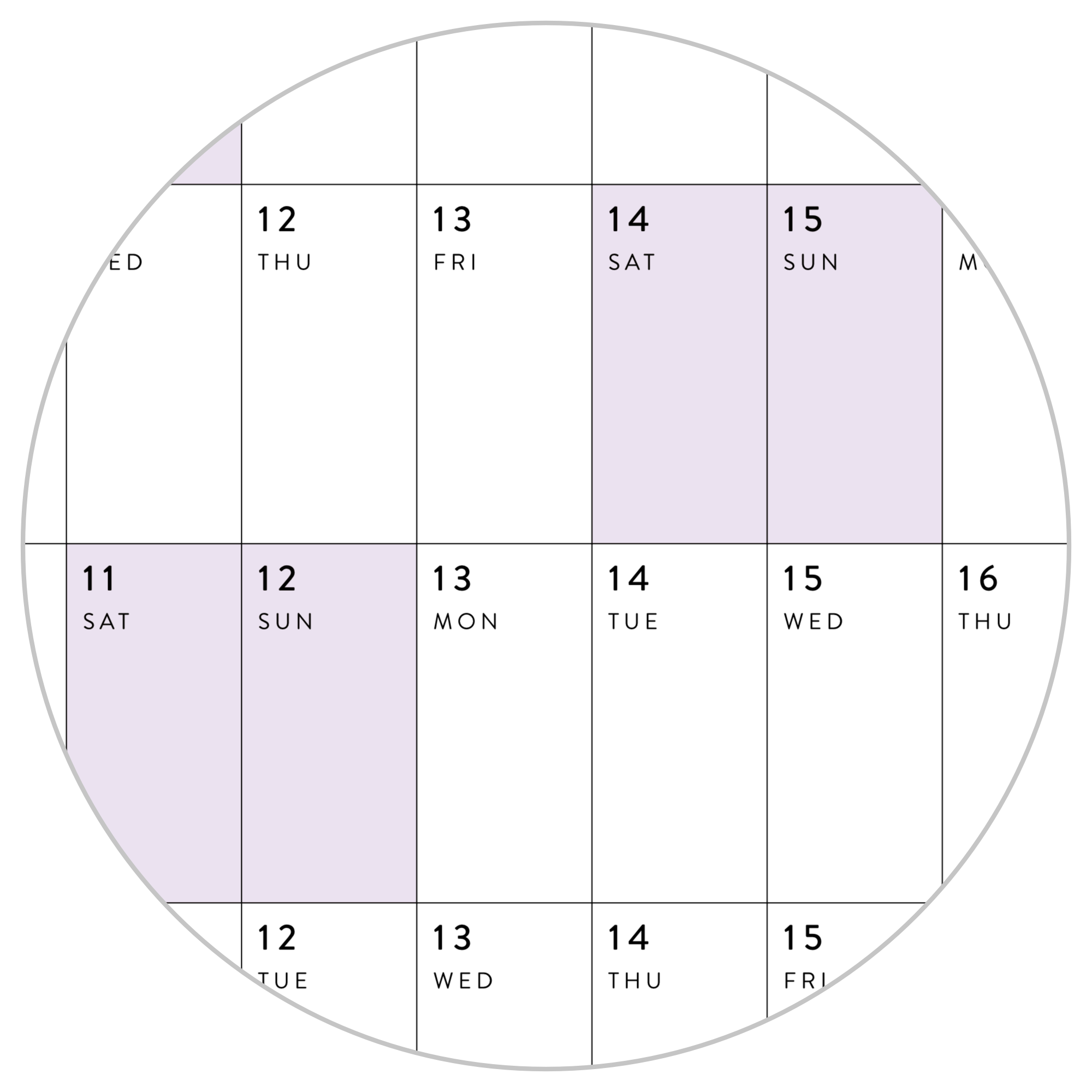 HORIZONTAL 2021 WALL CALENDAR WITH PURPLE WEEKENDS