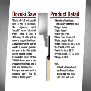 "SUIZAN Japanese Saw 6"" Dozuki (Dovetail)"