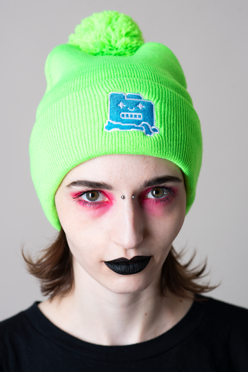 Frozen Filez Neon Green Beanie
