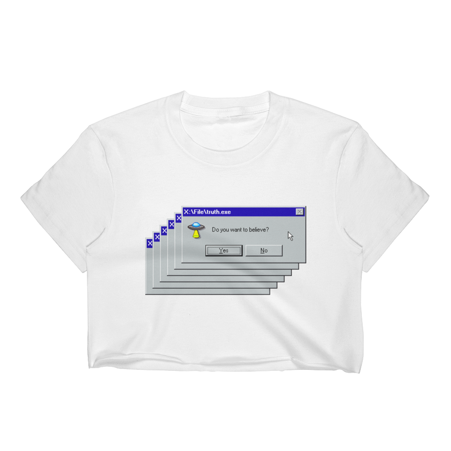 X-Files 95 White Crop Top