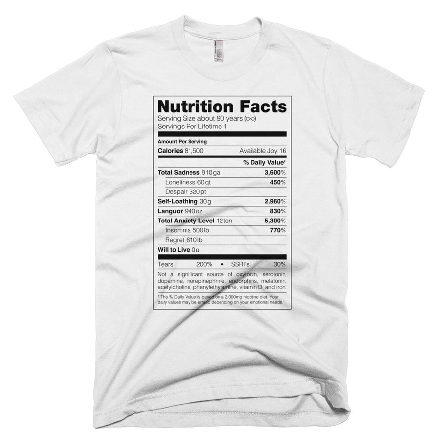 Depression Nutrition Facts Tee