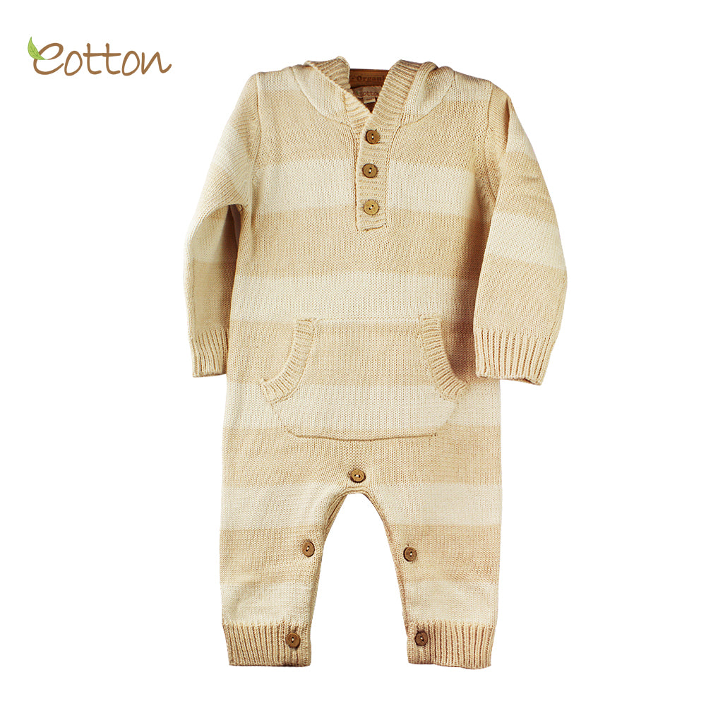 Certified Organic Cable Knit Long Sleeve One Piece Sweater Romper