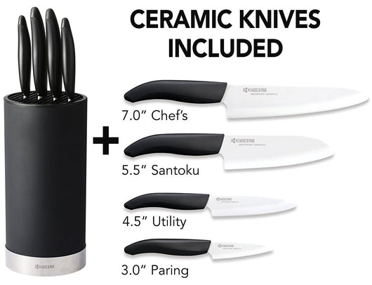Kyocera 5pc Universal 4 Ceramic White Blade Knife & Black Soft Touch Block Set
