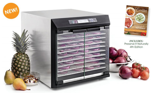 Excalibur EXC10EL 10 Tray Digital Stainless Steel Glass Door Raw Food Dehydrator
