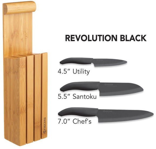 Kyocera Bamboo Block Ceramic Knife 4 Pc Set 4.5