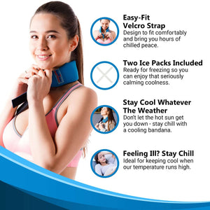 Refreezable Cooling Ice Bandana - Cool Relief Ice Wraps