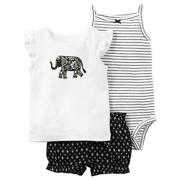 92e23f2d973b Babylah.com - Basic Stripes Romper   Elephant Print Top Shorts 3-Pieces