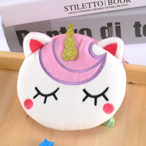 Unicorn Horn Plush Bag Cartoon Unicorn Purse Stuffed Doll Toys Peluche Coin Purse Licorne Coin Storage Bag Kids Girls Bag Gift