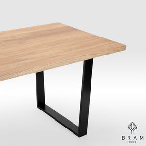 Oak Dining Table With U-Form Steel Legs