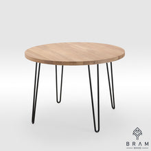 Dining Roundtable With Hairpin Style Steel Legs