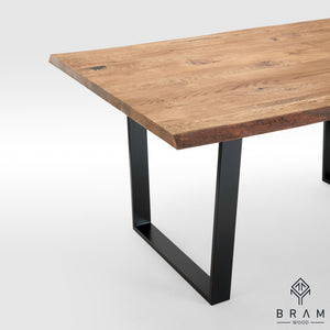 Rustic Dining Table With Live Edge And U-Form Legs