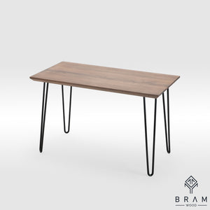 Sharp Forms Oak Writing Table With Hairpin Legs