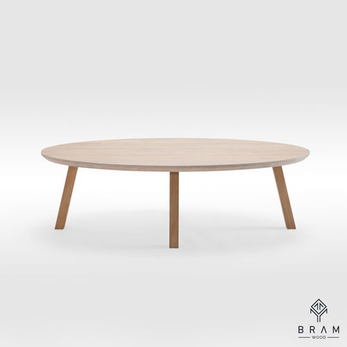 Ellipse Form Coffee Table With Oak Legs