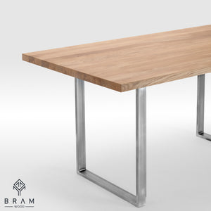 Oak Dining Table With U-Frame Uncoated Steel Legs