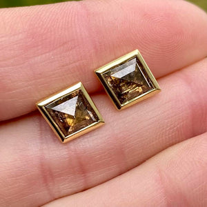 Diamond Shaped Brown Diamond Zelda Stud Earrings