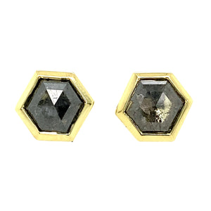 Hexagon Silver Diamond Zelda Stud Earrings