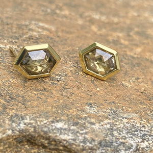 Hexagon Brown Diamond Zelda Stud Earrings