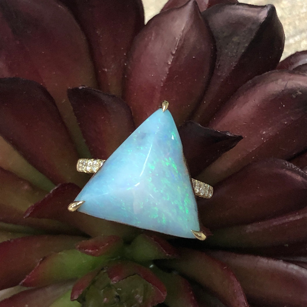 Boulder Opal Triangle Ring