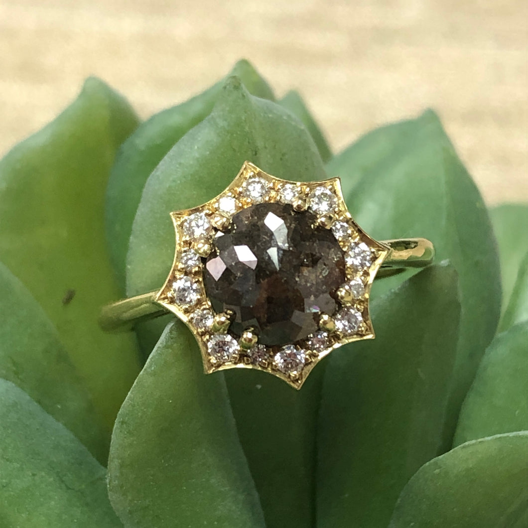 Brown Diamond Starburst Ring