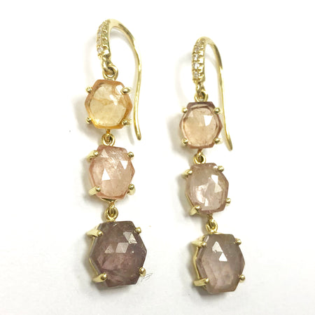 Joyce Multicolor Rose Cut Hexagon Sapphire 3 Stone Earrings