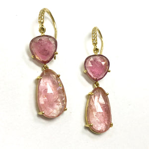 Joyce Pink Tourmaline Two Stone Earrings