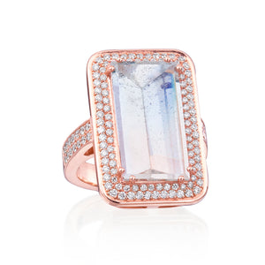 Sophie Bicolor Mirror Cut Aquamarine Ring