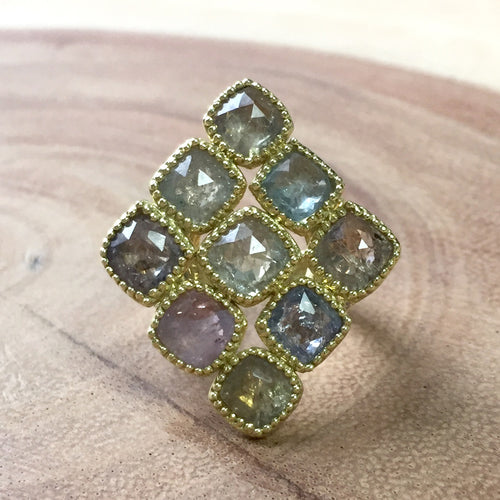 Multicolor Cushion Sapphire Shield Ring