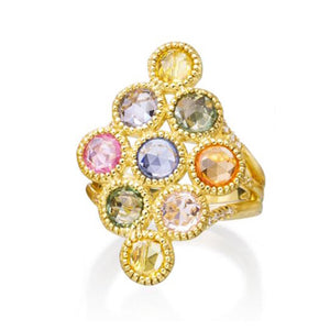 Round Multi Color Rose Cut Sapphire Temple Ring