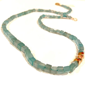 Aquaprase Cube Shaped Beaded Necklace