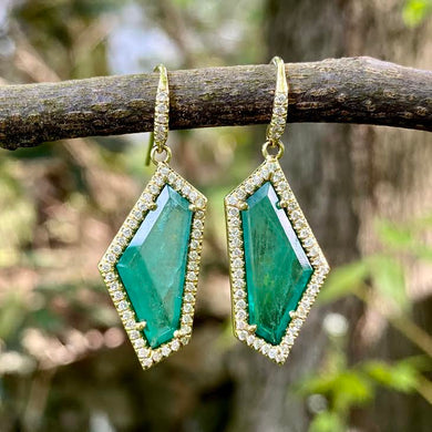 Emerald Geometric Shaped Mischa Earrings