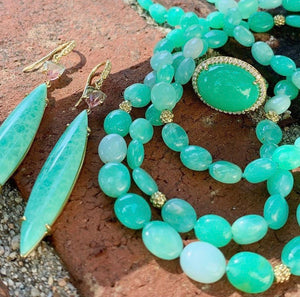 Chelsea Chrysoprase Oval Beaded Necklace