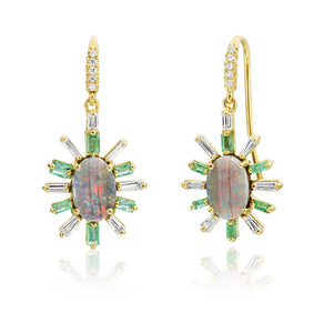 Joyce Starburst Emerald and Opal Earring