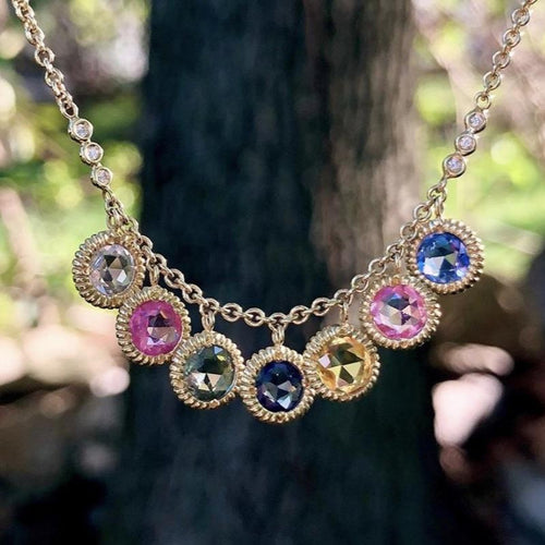 Carly Multicolor Rose Cut Sapphire Necklace
