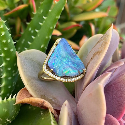 Triangle Shaped Boulder Opal Mischa Ring