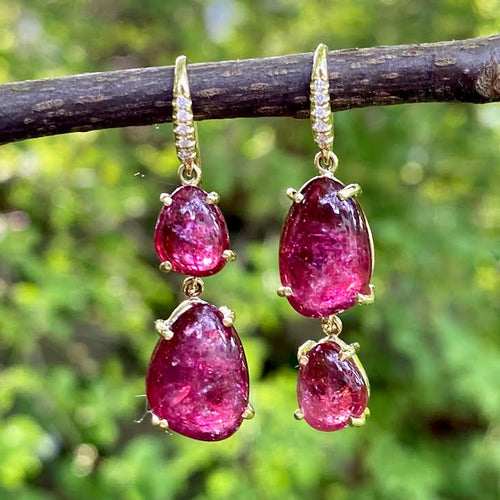 Pink Tourmaline Smooth Nugget Hi-Lo Joyce Earrings