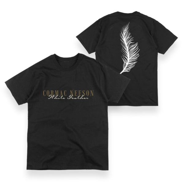 White Feather Black T-Shirt